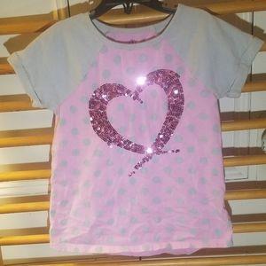 Lands' End Sequin Heart Top 7/8 Gray Pink Polkadot